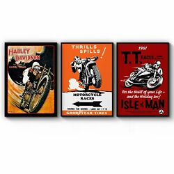 Set Of Vintage Motorcycle Advert Man Cave Wall Art Print Poster Framed Or Canvas