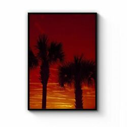 Sunset Palm Trees Coastal Photograph Wall Art Print Poster Framed Or Canvas