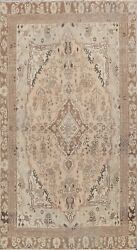 Muted Semi Antique Geometric Tribal Area Rug Hand-knotted Distressed Carpet 6x9