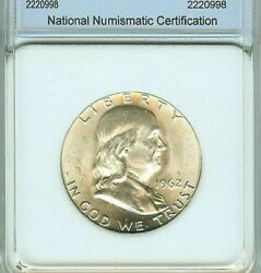1962-d Franklin Silver 50 Cents Appears Gem+ Uncirculated Full Bell Lines @