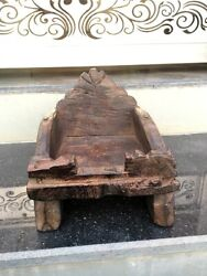 Antique Wooden Hand Carved Hindu Religious Temple God Chair Sitting Stand