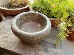 1800's Ancient Old Hand Caved Indian Stone Mortar Bowl Garden Decorative Bowl