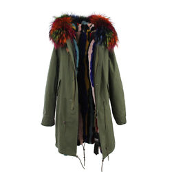 Multi-color Extra Large Real Fur Lining And Fur Hooded Womenand039s Coat Jacket Parka