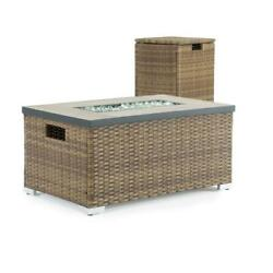 Sego Lily Fire Pit Table 32 In. X 16 In. Rectangle Wicker Propane Storage Brown