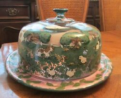 Vintage Hand Painted Glass Cake Platter And Dome