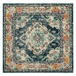 Square Traditional Oriental Medallion Blue Area Rug Free Shipping