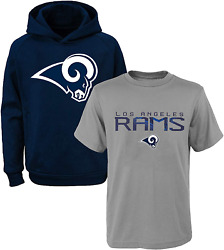 Nfl Youth 8-20 Polyester Performance Primary Logo Hoodie T-shirt 2 Pack Set