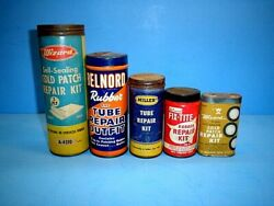 Vintage Miller, Belnord And Wizard Tire Tube Repair Kit Cans