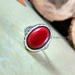 Solid 925 Sterling Silver Aaa Red Coral Oval Gemstone Christmas Mens Ring 287