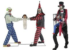 Halloween Animated Lifesize Tug Of War Clowns And Rotten Ringmaster W/ Clown Prop