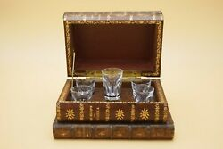 1950and039s Baccarat Liqueur Cabinet Cave Set Clear Crystal Glass Fake Books France