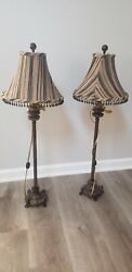 Traditional Buffet Table Lamps, Set 2 Tall Vintage Style.