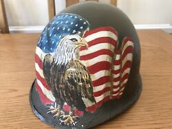 Ww2 Style American Us M1 Front Seam Helmet With Post War Decoration