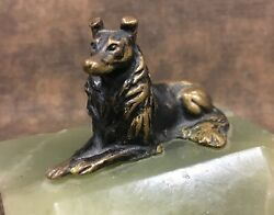 Vintage Austrian Bronze Collie Dog Figure on Green Onyx Trinket Dish Pin Tray