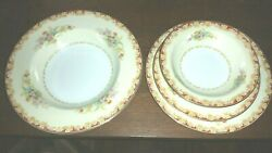 Beautiful 27pc Noritake Occupied Japan 1940s China Lismore Floral Gold Red Cream