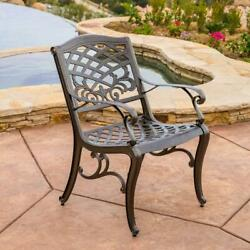 Noble House Outdoor Dining Chair Residential Aluminum Hammered Bronze Set Of 2