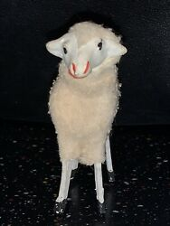 Putz Sheep Stick Leg Germany Composition Wooly Antique Nativity Toy Free Ship