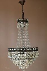 Vintage Crystal Chandelier Antique Brass French Empire Home Lighting Retro Lamp