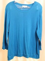 Calvin Klein Womens Sweater Tunic 3 4quot; Sleeve Pull Over Casual Teal Shirt XL $15.99