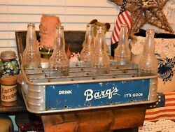 Rare Barq's Root Beer Soda 24 Slot Stadium Carrier Case Tray And 6 Vintage Bottles