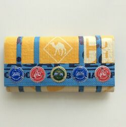 Soda Pop Camel Recycled Clutch With Vintage Bottle Tops Fair Trade Cambodia