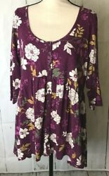 Torrid Size 0 Purple Floral Tunic Dress 3/4 Sleeves Scoop Neck Rayon Spandex
