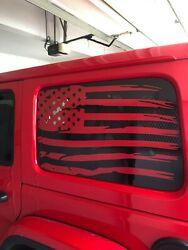 Distressed Flag Rear Window Decals Red For Jeep Wrangler Unlimited 4dr Jku Jlu