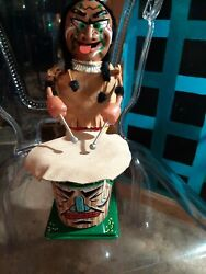 Vintage Marx Nutty Mad Indian Battery Operated Tin Litho Toy With Box