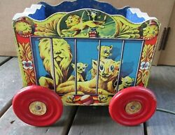Rare Excellent 1950 Gong Bell Circus Wagon Pull Toy Wooden Metal Wheels Lions
