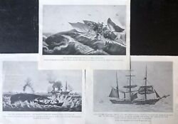 Antique Printed Maritime Book Plates Assorted Whaling Ships And Whaling Scenes
