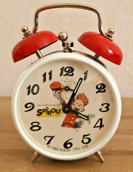 Antique Clock Advertising Spirou 1993 Red And White Deco Collection