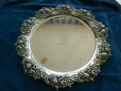1878 Dominic And Haff Sterling Silver 19and039and039 Round Floral Edge Tray