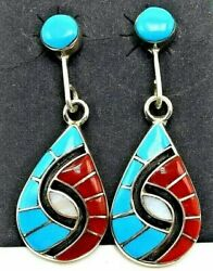 Zuni Handmade Turquoise And Coral Sterling Silver Inlay Earrings - Amy Wesley