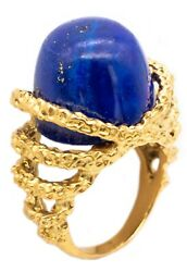 Gubelin 1960 Swiss Mid-century 18 Kt Gold Modernist Ring With Dome Lapis Lazuli