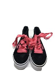 VANS Off The Wall Girl 13 Black Suede amp; Pink Skateboard Sneakers High Top Shoes