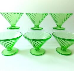 Six Federal Diana Green Swirl Sherbet Dishes Vintage 1930's Green Glass Sherbets