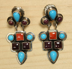 Beautiful Ortegas Sterling Silver Turquoise And Coral Chandelier Earrings X243a