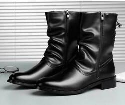 Mens High Top Zip Pointy Toe Cowboy Motorcycle Ankle Riding Boots Trainer 2020