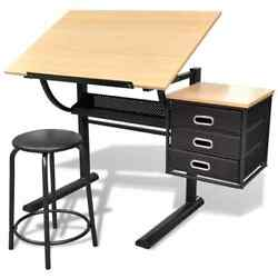 Vidaxl Mdf Drafting Tiltable Tabletop Drawing Table With Stool Three/two Drawers