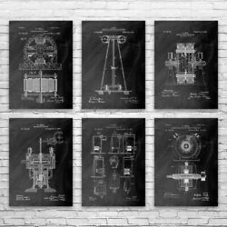 Nikola Tesla Inventions Posters Set Of 6 Electrician Gift Science Teacher Gift