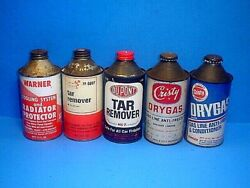 Vintage Tar Remover, Raiator Protector, Dry Gas Cone Top Metal Cansoil Related