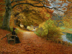 A Wooded Path In Autumn by H. A. Brendekilde Giclee Canvas Print various sizes