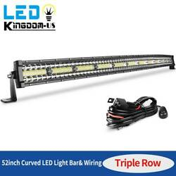 52 Inch 1125w Curved Led Light Bar Tri-row Driving Offroad Combo +wiring Harness