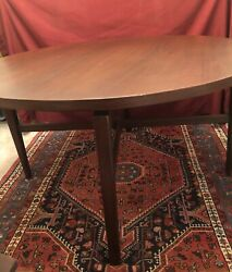 """Jens Risom Floating Round Dining Table Walnut 48"""" With Table Pads"""