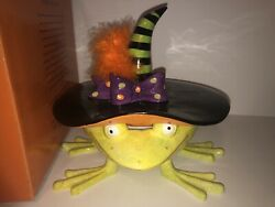 Dept 56 Krinkles Patience Brewster Witch Frog Candy Dish Halloween Retired Rare