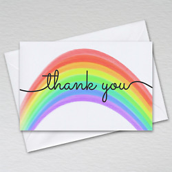 Rainbow Thank You Cards 1-100 Packs A6 Postcards Notes Envelopes Kids Adults Nhs