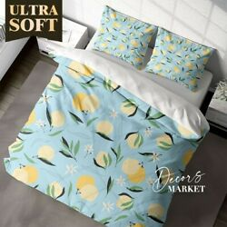 Lemons Leaves Floral Patterns Yellow Duvet Cover Queen Size Single Double King