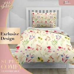 Watercolor Flowers Kids Patterns Yellow Duvet Cover Sets 2x Matching Pillowcases
