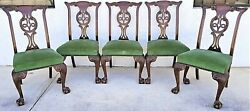 Set Of 5 1800and039s English Oak Hand Carved Ball Claw Chippendale Dining Chairs