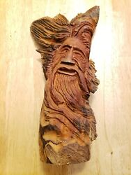Hand Carved Tree Spirit Wood Spirit Wizard Forest Gnome Artist Signed 10andrdquo